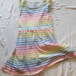 H&M | Organic Cotton Rainbow Jersey Dress 6-8Y